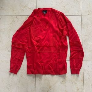 Lumiere NWOT Red Perforated Sweater Sz Large